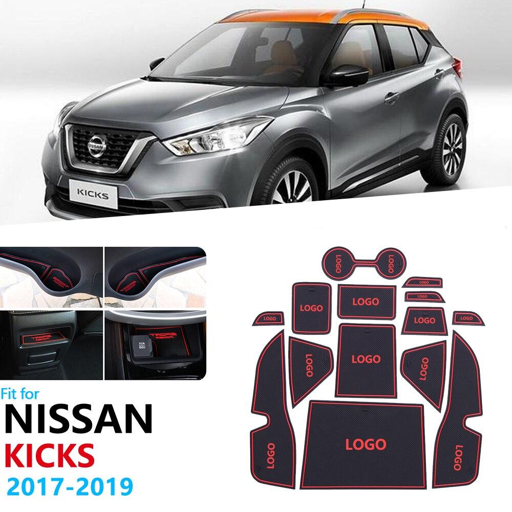 Нескользящий Резиновый коврик для ворот для Nissan Kicks 2016, 2017, 2018, 2019, дверной коврик с желобом, аксессуары для стайлинга автомобиля, 14 шт./s