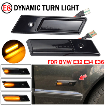 New Style Side Marker Light For BMW E32 E34 E36 Side Streamer Models Lights Blacken Smoked Shell LED Turn Signal Car Light image