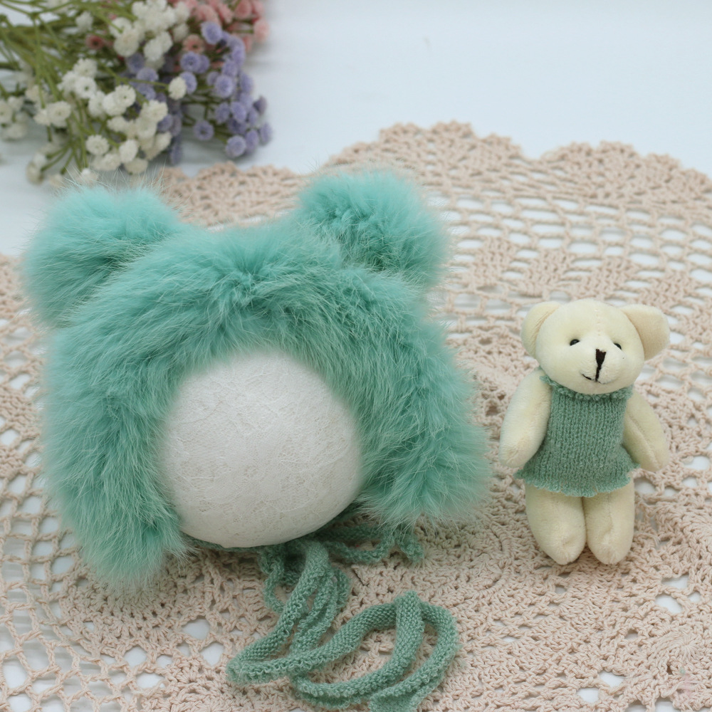 Baby Photography Prop Newborn Plush Knitted Hat And Bear Doll Set For Infant YJS99