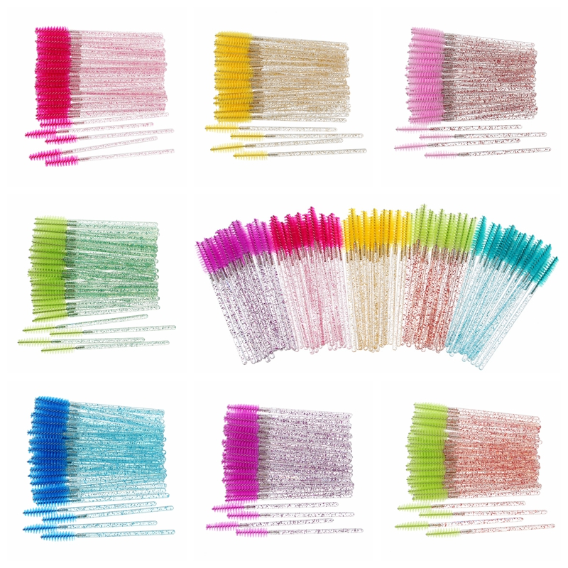 50pcs Women's Fashion Eyelashes Brushes Mascara Wands Disposable Makeup Brushes Crystal Eyebrow/Eyelash/Mascara Eye Lashes Brush