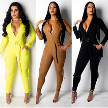 2020 New Women Jumpsuit Long Sleeve Turn-down Collar Solid Color With Pockets Sashes Slim Rompers Jumpsuits Casual Streetwear(China)