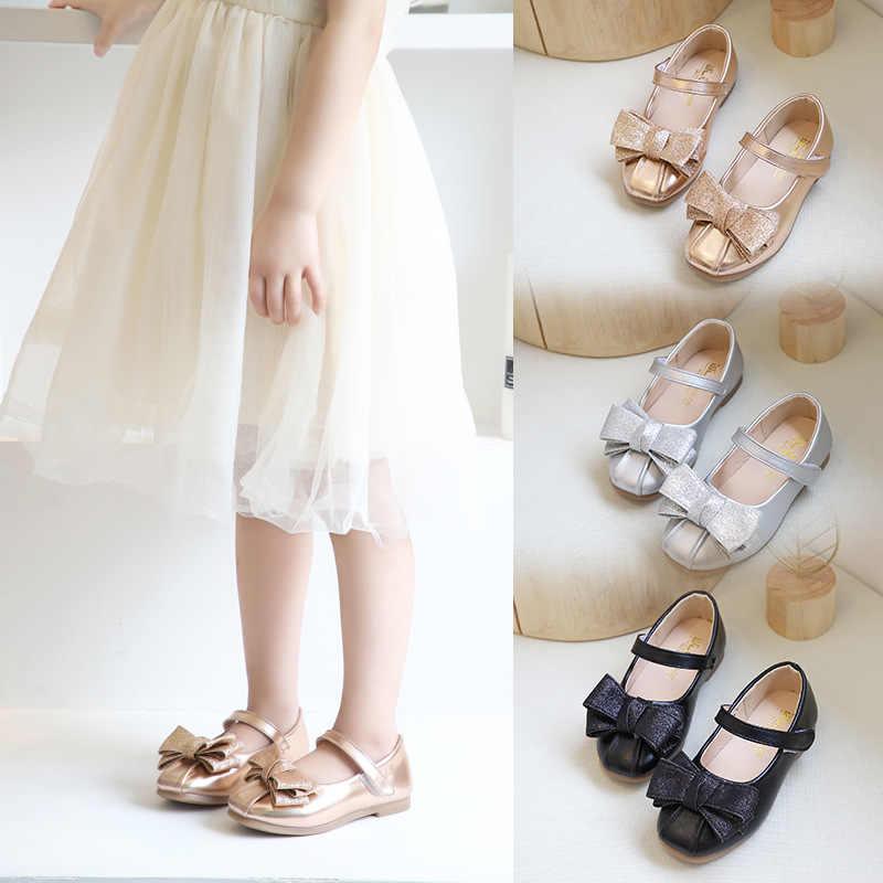 Mädchen Flache Schuhe 2020 Neue kinder Weiche Sohle Bowknot Flacher Mund der Einzelnen Schuhe Kleine Mädchen Prinzessin Schuhe Zapatos para Ninos