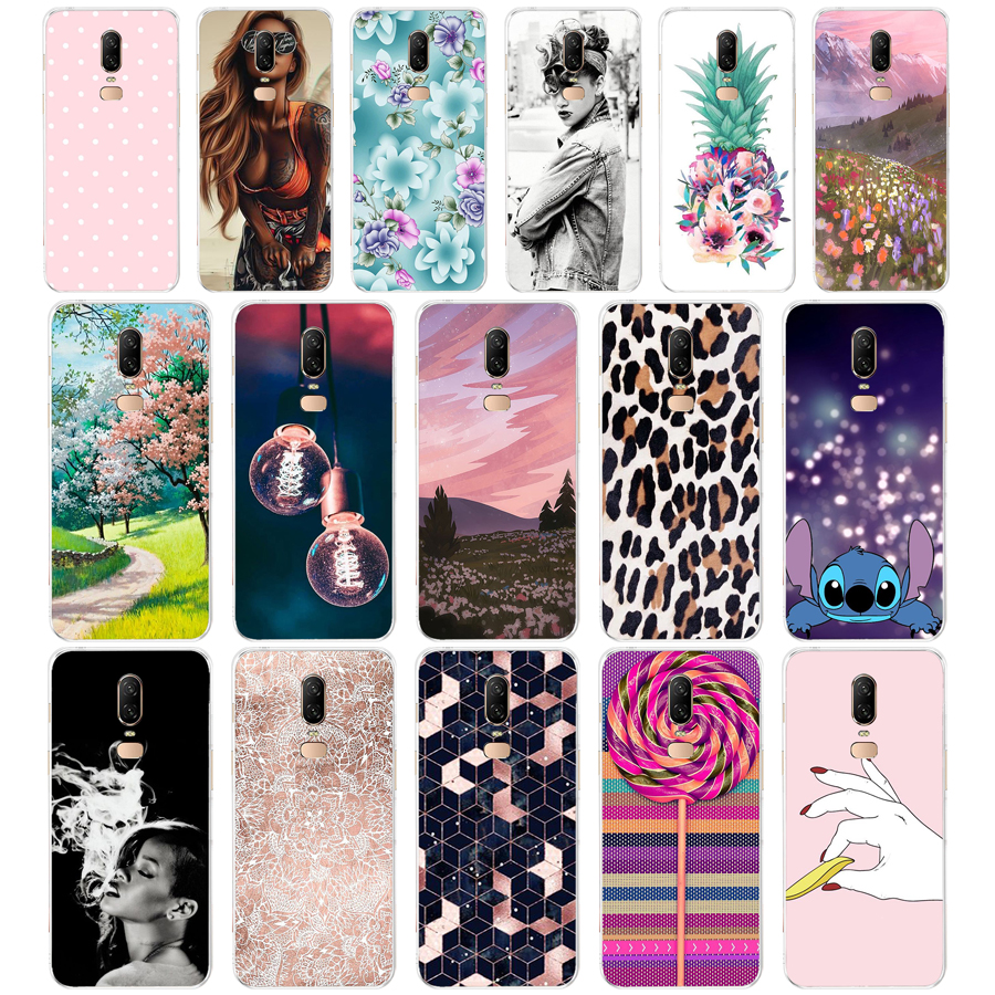 6 silicon case for oneplus 6 case cover Coque for oneplus 6t case etui cover for oneplus 6 case leaves cute funny dog cartoon