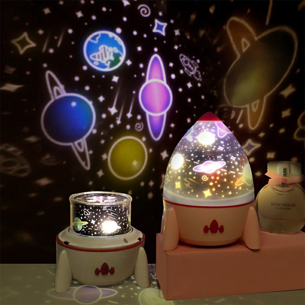 LED Colorful Rocket Rotating Projector Lamp With Star Universe Ocean Birthday Five Slides Night Light Gift For Friends Kids D30