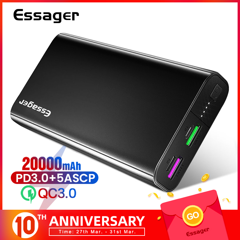 Essager 20000 Mah Power Bank Usb C Pd Quick Charge 3.0 5A Powerbank Voor Xiaomi Iphone 20000 Mah Draagbare Externe batterij Oplader title=
