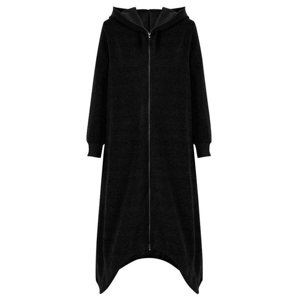 플러스 사이즈 여성 가을 겨울 패션 트렌드 펑크 레트로 챠밍 쿨 솔리드 컬러 지퍼 후드 티셔츠 긴 양털 코트 여성