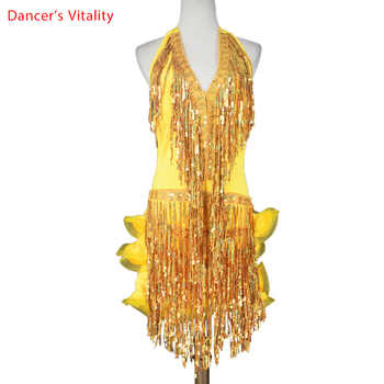 Latin dance costume senior sexy Deep V belt sequins tassel latin dance dress women latin dance competition dresses 4 colors - Category 🛒 Novelty & Special Use