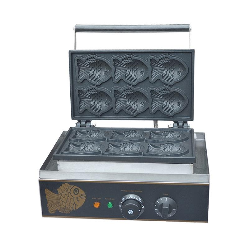 110V 220V 6pcs Fish Cakes Machine Commercial Electric Fish Shaped Cake Machine Ice Cream Taiyaki Waffle Maker EU/US/AU/BS Plug