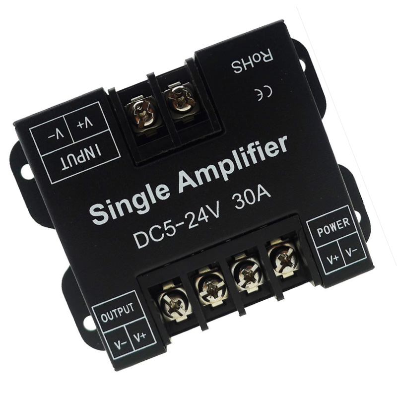 DC <font><b>12</b></font>-24V 30A Single Color Power Repeater Signal Amplifier Aluminum Case for Led Stripe <font><b>SMD</b></font> 3528 5050 5630 <font><b>2835</b></font> LED Strip Lights image