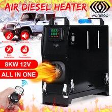 8000W 12V Tất Cả Trong Một Diesel Không Khí Nóng Màn Hình LCD Kỹ Thuật Số Điều Hòa Xe Ô Tô Xe Hơi Nóng Rã Đông + điều Khiển Từ Xa Cho Xe Bus