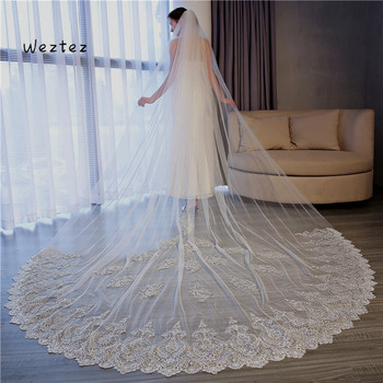Bridal Veil with Comb Wedding Accessories Bride Wedding Veil 3.5 Meter Cathedral Wedding Veils Long Lace Edge TS068