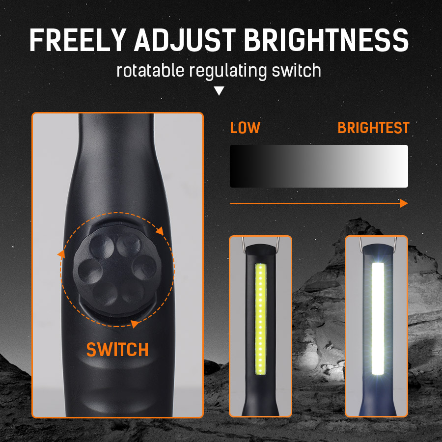 Купить с кэшбэком DINGDIAN LED COB Work Light AAA Battery Powered Work Lamp Portable Flashlight Camping Hiking Lantern Torch