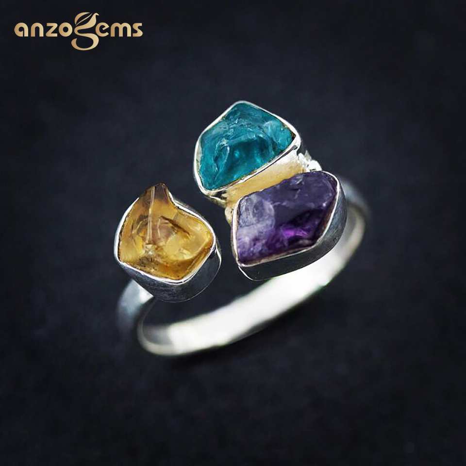 Anzogems Handmade Rough Stone Ring Natural Amethyst Citrine Apatite 925 Sterling Silver Gemstone Fine Jewelry for Women Unique