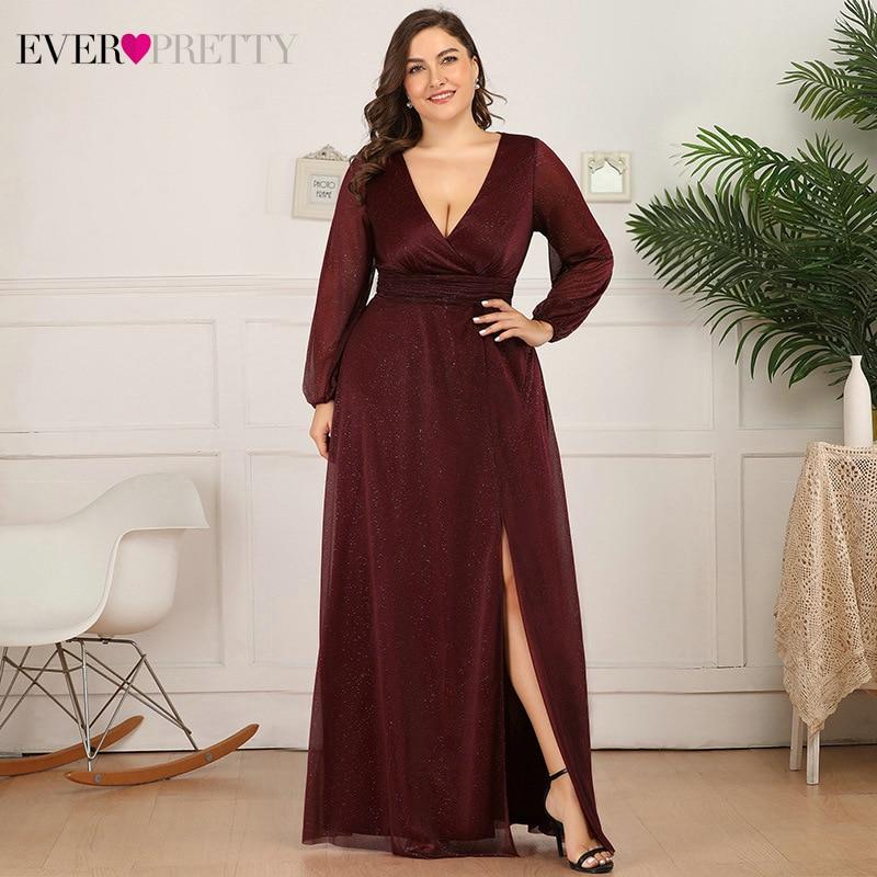 Plus Size Burgundy Prom Dresses Ever Pretty A-Line Deep V-Neck Side Split Long Sleeve Sexy Sparkle Formal Party Gowns Sukienki