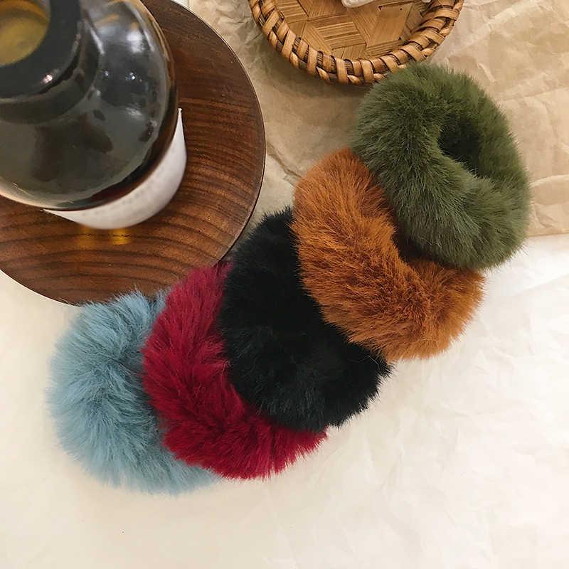 רך פו ארנב פרווה גומיית קטיפה שיער חבל גומי להקות שיער קשרי שיער אלסטיים להקות נשים שיער אבזרים
