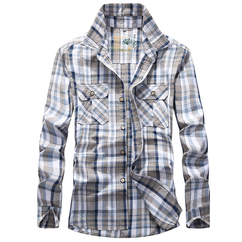 Plaid Shirt Men Army Military Long Sleeve Camisa Masculina Plus Size 4XL 100% Cotton Casual Mens Shirts Chemise homme