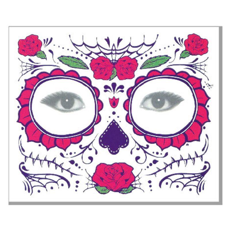 Halloween Viso Tatuaggi Temporanei Adesivi Giorno dei morti Del Cranio Dello Zucchero Floreale Scheletro Maschera Unisex Messicano Favore di Partito Forniture - 6