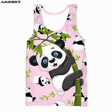 Jumeast marka mężczyźni kobiety kamizelka z nadrukiem 3D Hip-Hop urocze zwierzę Panda moda z krótkim rękawem sportowy sweter letna koszulka topy Tees tanie tanio CN (pochodzenie) Suknem Na co dzień Drukuj vest Poliester O-neck