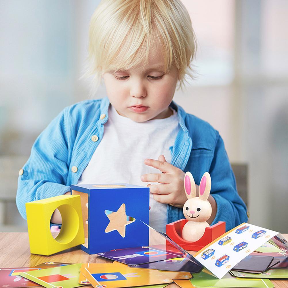 Wooden Magic Box Rabbit Animal Geometric Building Blocks Desktop Game Kids Toy