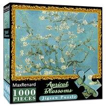 MaxRenard 50*70cm puzzle 1000 sztuk Van Gogh kwiaty moreli drewniane montaż puzzle dla dorosłych obraz arcydzieło