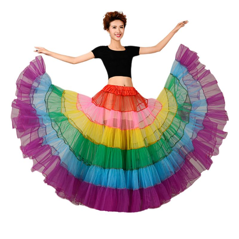 Colorful Petticoat Boneless Wedding Dress Underskirt Large Pendulum Dance Mesh Tutu Skirts Crinoline Bridal Petticoat Rockabilly