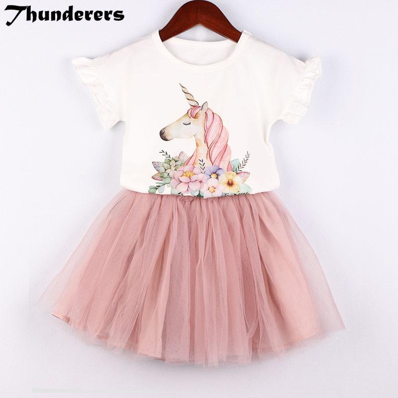 Children's Suits Girls Clothes Set 2018 New Magical Unicorn Pattern White T-shirt Lace Skirt Cute Children's Wear 3-7Y