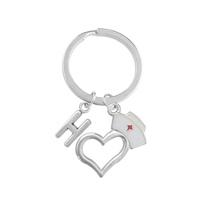 Creative Love Nurse Cap 26 Letter Keychain Personality Red Cross Souvenir Nurse Doctor Fashion Graduation Gift