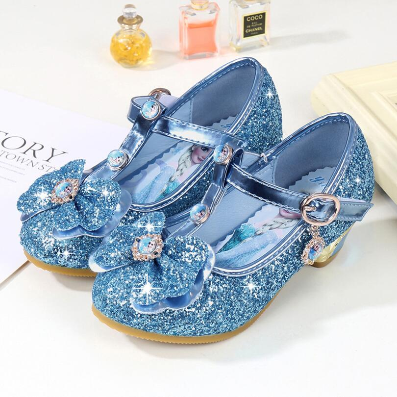 Toddler Girl Snow Queen Sequin Leather Shoes Little Kid Leather Glitter Children Dress Shoes High Heels Size 24-36