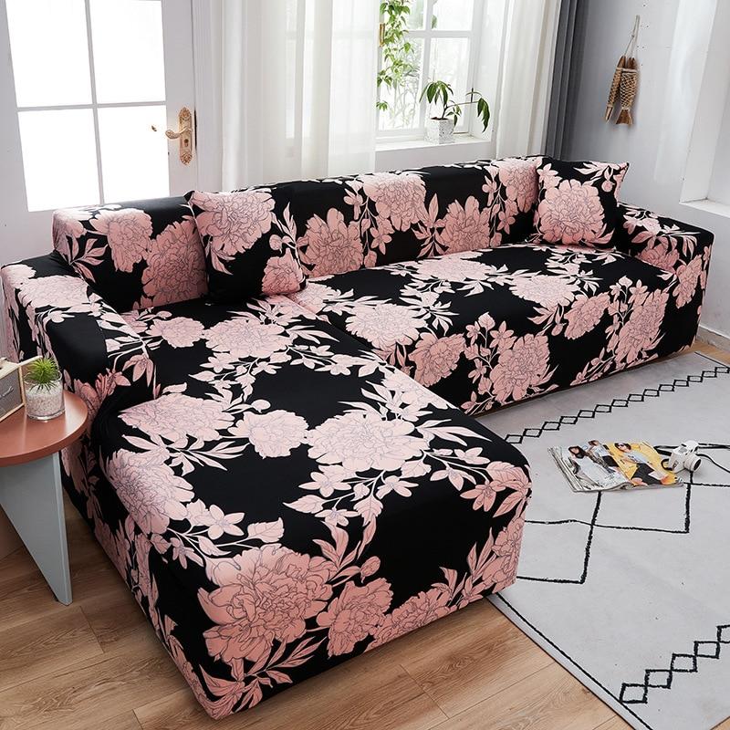 Эластичный чехол для дивана регулируемый нескользящий с цветочным