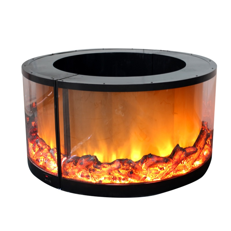 Circle Arch Electric Fireplace For Pillars Post Column