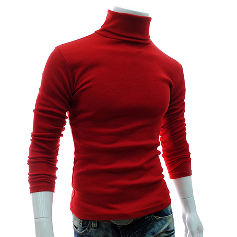Autumn Men Solid Color Turtle Neck Long Sleeve Sweater Slim Knitted Pullover Top