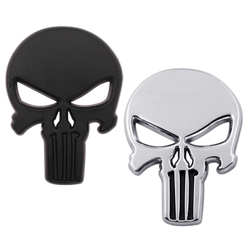 3D Skull Rhino Tuning THE Punisher Body Badge Sticker Metal Auto Emblem For The Whole Body QX80 FX35 G25 Q70 QX60 Car styling 1