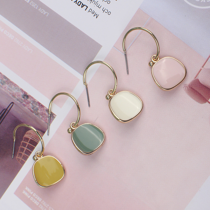 2019 Korean Sweet Abstract Texture Fashion Drop Flower Dangle Earring Wedding Geometric Jewelry Wholesale Gift For Lover Friend