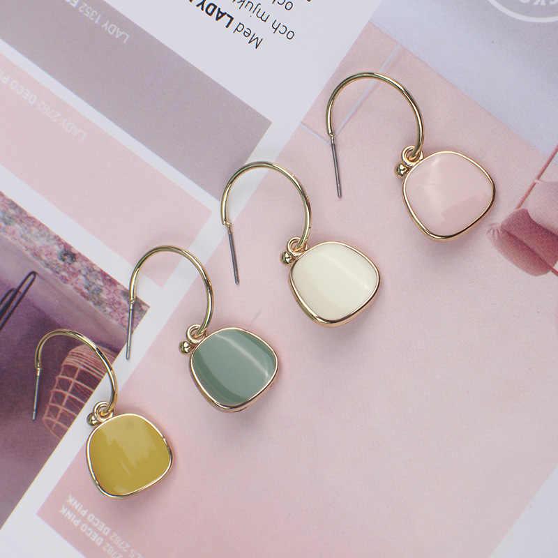 Manxiuni 2019 mới nữ Bông tai Đơn Giản thời trang Bông tai mặt dây chuyền Acrylic bông tai kim loại nữ dự tiệc có niên đại trang sức