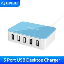 ORICO 5 Port Desktop Charger With Power Adapter 5V 2.4A USB Charger for Xiaomi Huawei Pad iPhone Samsung Charging
