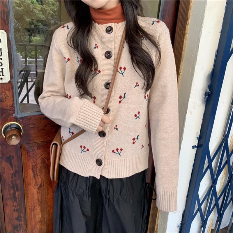 Vintage Cherry Knitted Cardigan Winter Autumn Buttons Sweet Kawaii Sweater Korean Chic All-match Women's Cardigans Long Sleeve
