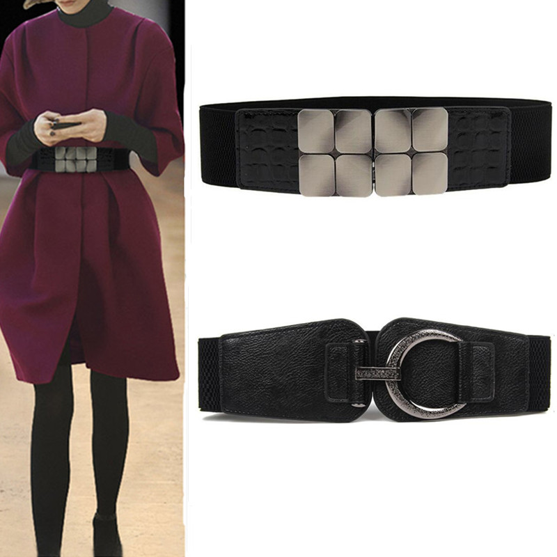 Women Waistbands Fashion Stretch Cummerbunds Black Metal Buckle Alloy Waist Belts Wide Elastic Cinch Corset Waistband For Dress