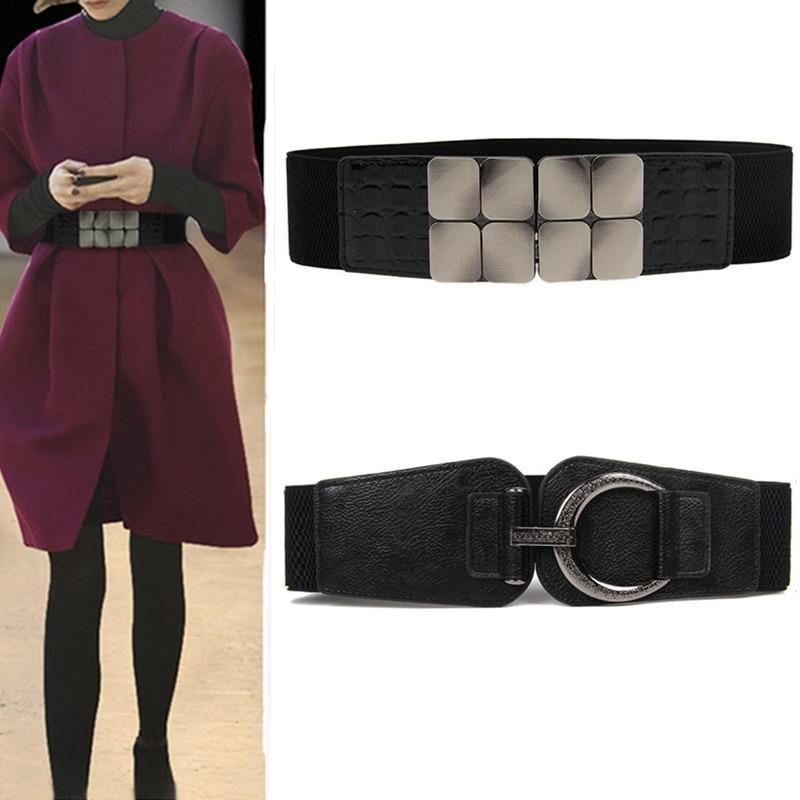 Women Waistbands Fashion Stretch Cummerbunds Black Metal Buckle Alloy Waist Belts Wide Elastic Cinch Corset Waistband For Dress