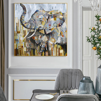Modern art Abstract Animal Canvas Paintings on Wall Art Picture Maternal Love Elephant Poster Prints Home Decor