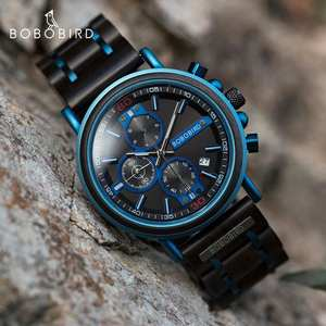 Wooden Watch Chronograph Logo Auto-Date-Display Bobo Bird Cutom Top-Brand Luxury Masculino