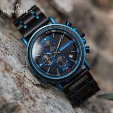 BOBO BIRD drewniany zegarek Top marka luksusowy zegarek na rękę automatyczne wyświetlanie daty chronograf niestandardowe Logo relogio masculino tanie tanio 25cm Luxury ru QUARTZ 3Bar Bransoletka zapięcie Drewniane 11 5mm Hardlex Kwarcowe Zegarki Na Rękę Drewna 45mm GS018-6