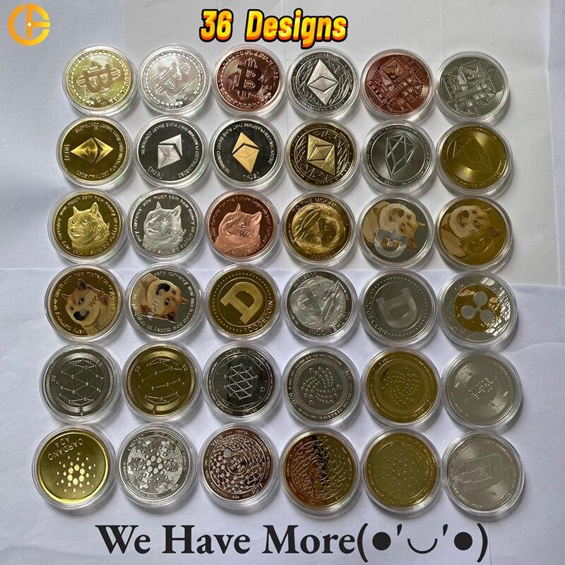 Догкоин/эфириум/Биткоин/тире/литкоин/пульсация/криптовалюта/EOS, металлическая красивая серебряная/Золотая коллекция Ada Cardano BTC, Крипто-монет...