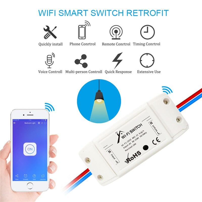 Модуль переключателя Wi-Fi eWeLink, 90 ~ 220 В переменного тока, 2200 Вт/10 А, Wi-Fi, умный беспроводной дистанционный переключатель «сделай сам», работает ...