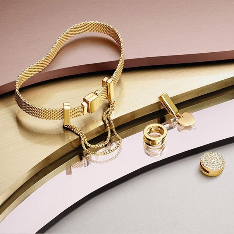 NEW 100% 925 Sterling Silver Reflexions Bracelet Set Shine Gold Heart Elegant Fit European DIY Original Charm Bead Jewelry Gift