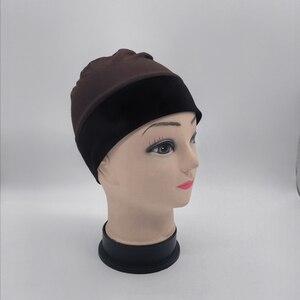 Шапочка для парика коричневого цвета с бархатной повязкой на голову для пациентов, удобные и эластичные крышки