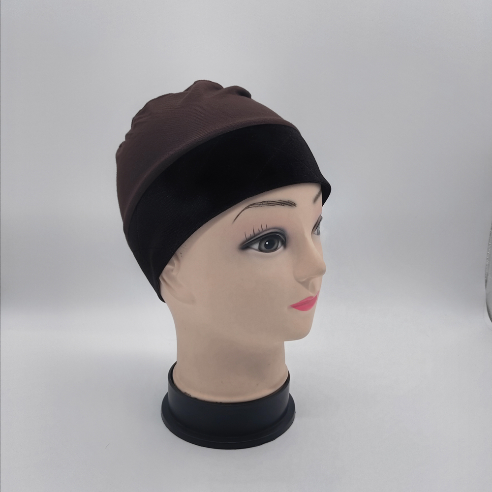Brown Color Wig Grip Cap With Velvet Headband Around For Cancel Patients Comfortable And Elastic Caps