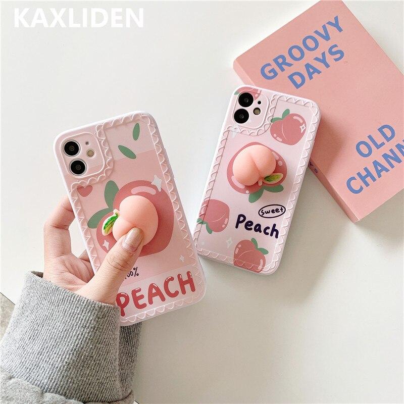 Coque souple en forme de pêche pour iphone, compatible modèles 11pro Max, 12 mini, X, XR, XS Max, SE 2020, 7, 8 plus