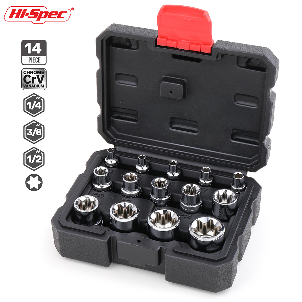 Hi-Spec 14pc 1/4 3/8 1/2 Torx Star Socket Set Adapter E Type E4-E24 Sockets Wrench Head Auto Repair Hand Tools