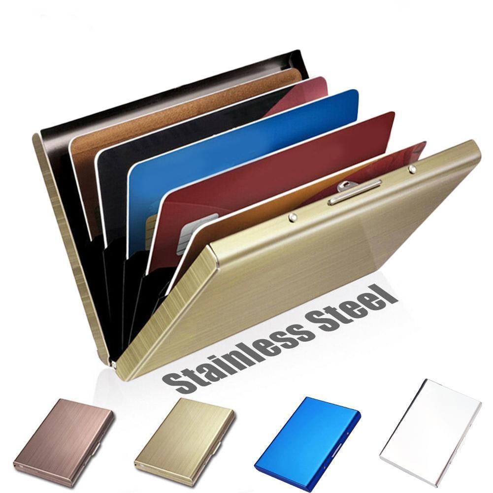 Mens Credit Card Holder Slim RFID Blocking Aluminum Metal Anti-scan Wallet Case
