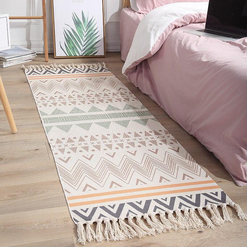 Boho Woven Rugs Cotton Floor Mat Carpet Decor Tapestry Hand Carpet Vintage Ethnic Floor Rugs For Living Room Bedroom Area Rug